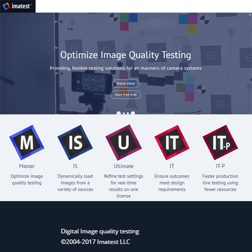 Imatest IT (Industrial Testing)  (工業檢測軟體)檢測圖像質量的控制系統